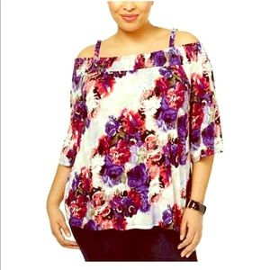 INC floral cold shoulder top, new with tags💐